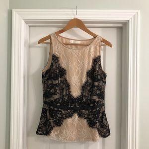 Ann Taylor Loft Lace Peplum Shell Top Size 6 Shirt